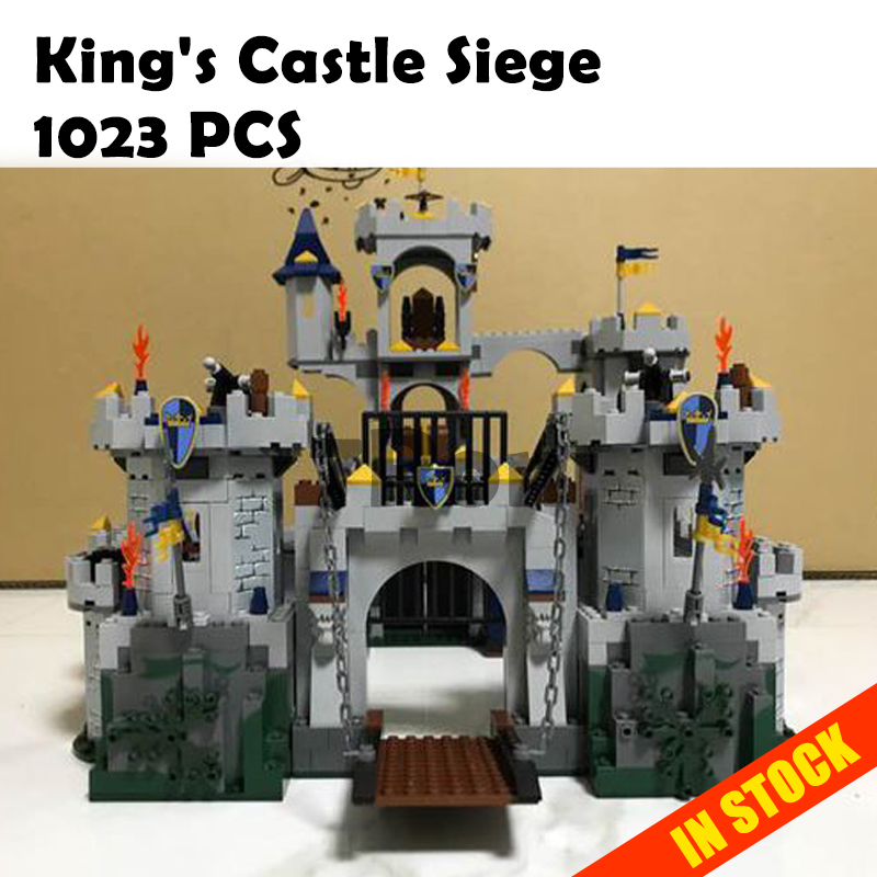 Model building toys hobbies 16017 1023pcs Compatible with Lego blocks Castle 7094 King's Castle Siege Figure Educational Bricks movie series king castle battle siege set model building block bricks toys compatible legoings city castle 7094