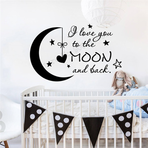 Wall Decoration Vinyl Art Removeable Poster I Love The Moon And Black Sticker Kids Room Mural Nersury Child Decal Ornament LY279(China)