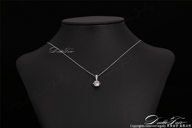 Double Fair OL AAA+CZ Diamond Chain Necklaces & Pendants Rose Gold Plated Fashion Crystal Party/Wedding Jewelry For Women DFN426