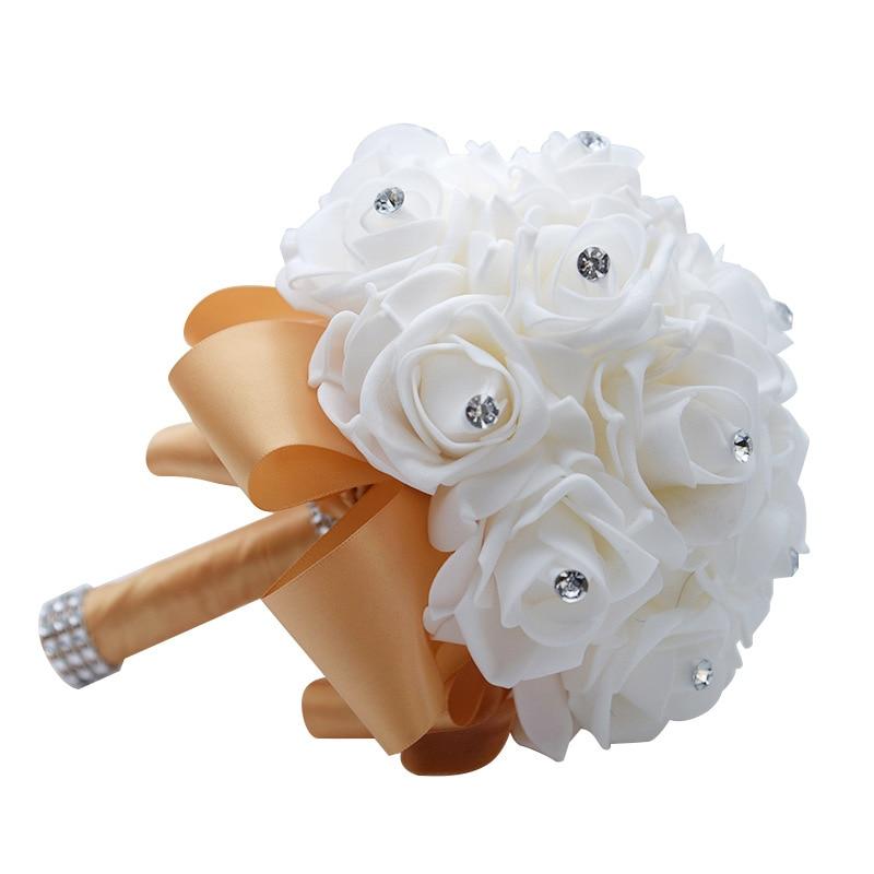Free Shipping Cheap PE Rose Bridesmaid Wedding Foam Flowers Rose Bridal Bouquet Ribbon Fake Wedding Bouquet De Noiva Customized