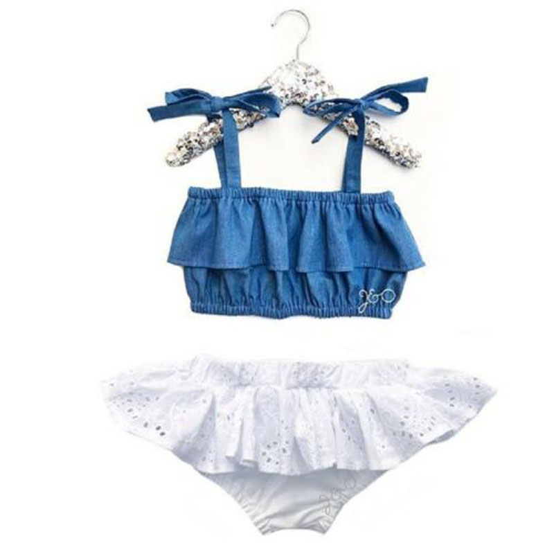 Focusnorm 2pcs Newborn Kids Baby Girls 0-3y Strap Denim Solid Top Lace Shorts Summer Outfit Clothes Holiday