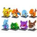 8 PCS/SET Pokemon Go Figure Minifigure Building Blocks Nanoblock DIY Model Toys Miniature Diamond Brick Boys Toys