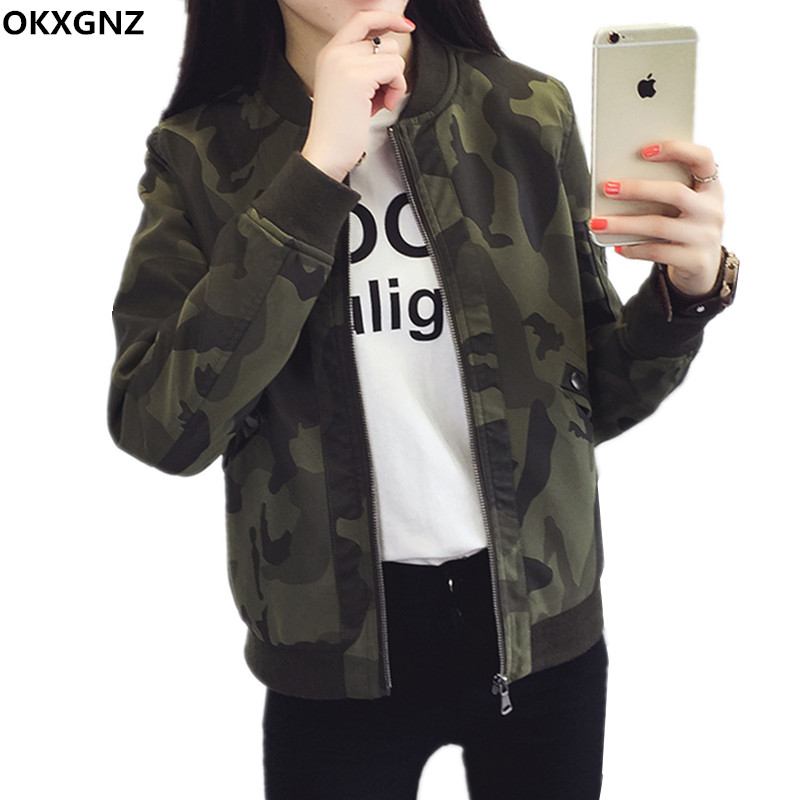 OKXGNZ 2017 Spring Women   Jacket   Coat Camouflage Print Costume Outwear Short Coat   Jacket   Plus Size Women   Basic     Jackets   Coats H240