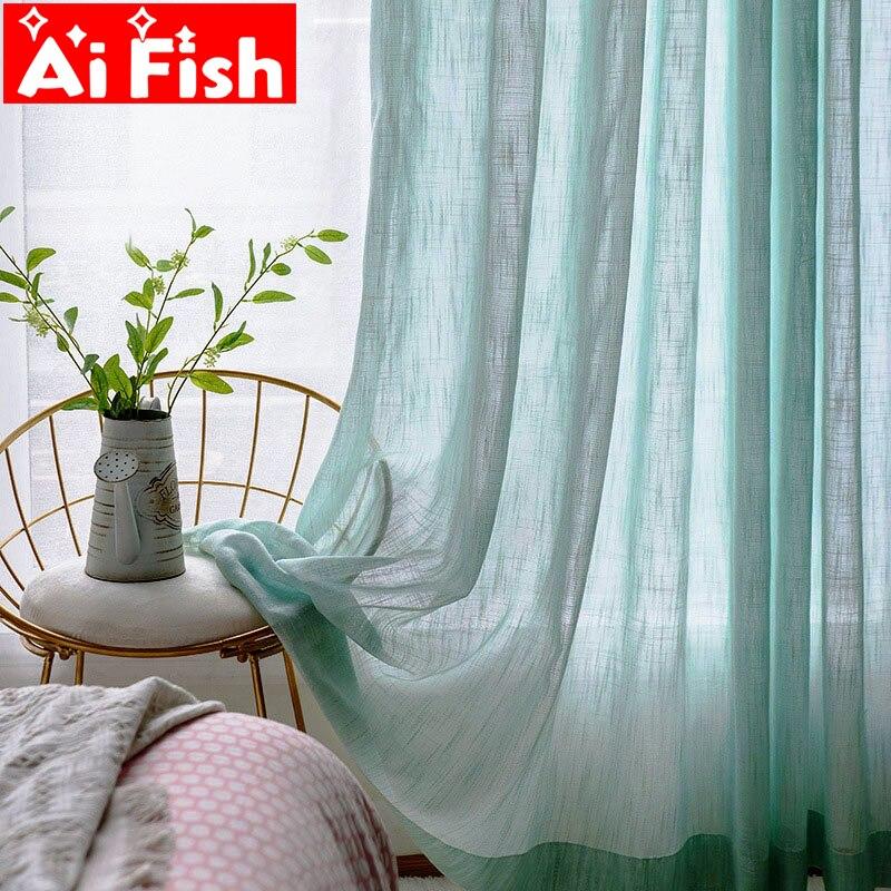 Modern Mint Green Hemp Slub Sheer Window Screen Tulle For Living Room Beige Kitchen Tulle Dedicated Yarn Curtains Panel MY135-40