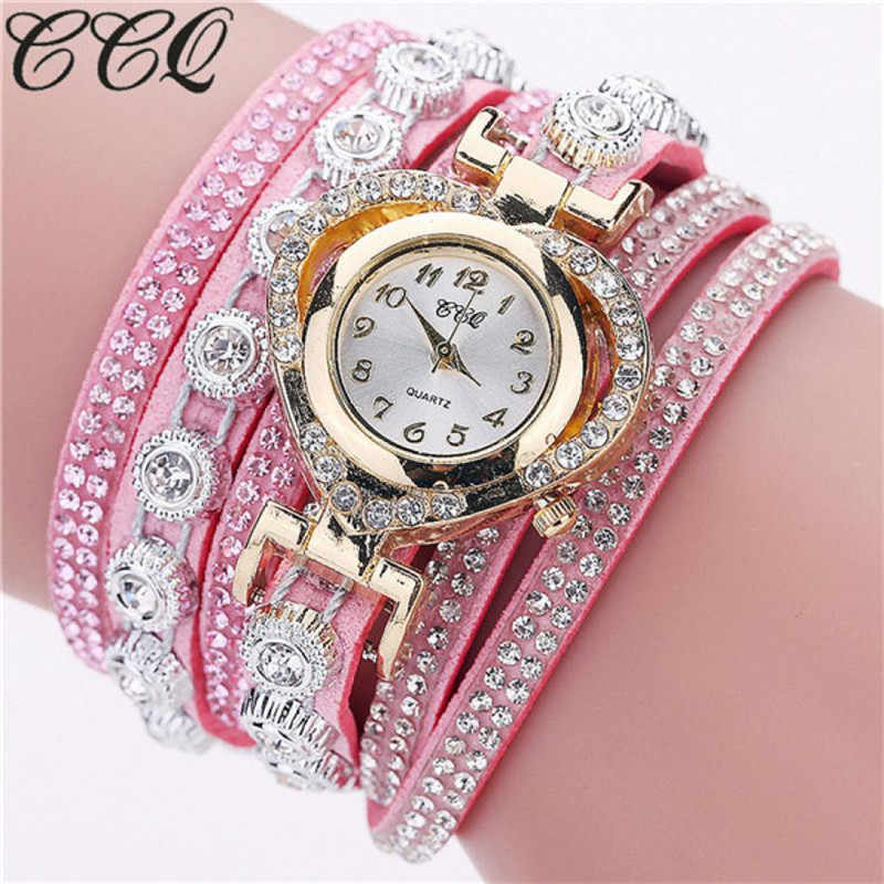 new  CCQ Women Vintage Rhinestone Crystal Bracelet Dial Analog Quartz Wrist Watch Luxury Stainless Steel Watch for woman Quartz