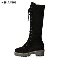 NEMAONE comfortable female boots Women Stretch Faux Slim Lace up High Boots Knee Boots High Heels Shoes black brown