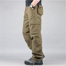 Nowa moda w stylu wojskowym męskie spodnie Cargo na co dzień duże kieszenie taktyczne wojskowe spodnie wiosna męskie bawełniane armii spodnie męskie tanie tanio Mężczyźni Pełnej długości PAVEHAWK 30-44 Luźne Suknem Mieszkanie Poliester COTTON Cargo pants Midweight Chiny (kontynentalne)