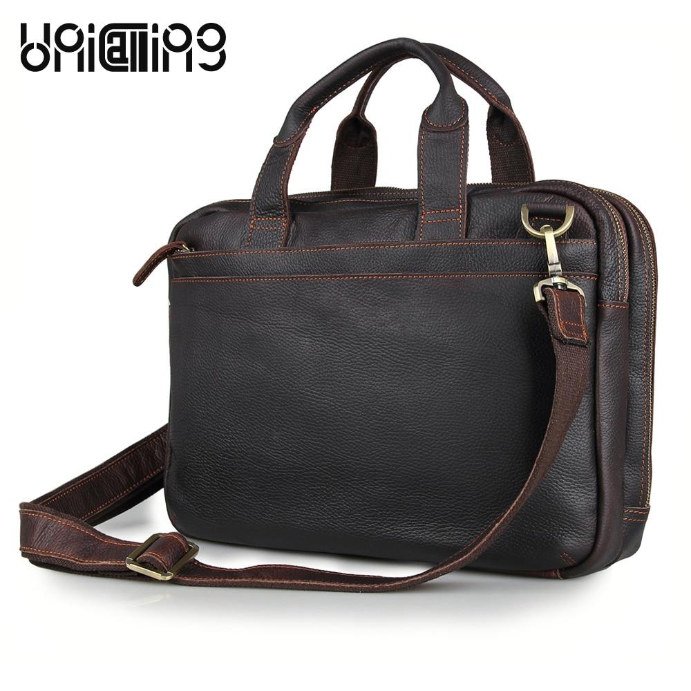 UniCalling vintage leather men handbag real cow leather male business bag briefcase unicalling denim
