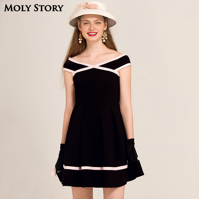 Super! Elegant Ladies Little Black Patchwork Dress Strapless Party - Women's Clothing - Photo 2