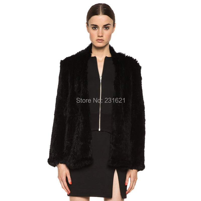 Top quality! 2014 Autumn and winter women's knitted 100% genuine rabbit fur coat long sleeve genuine leather outwear tb102