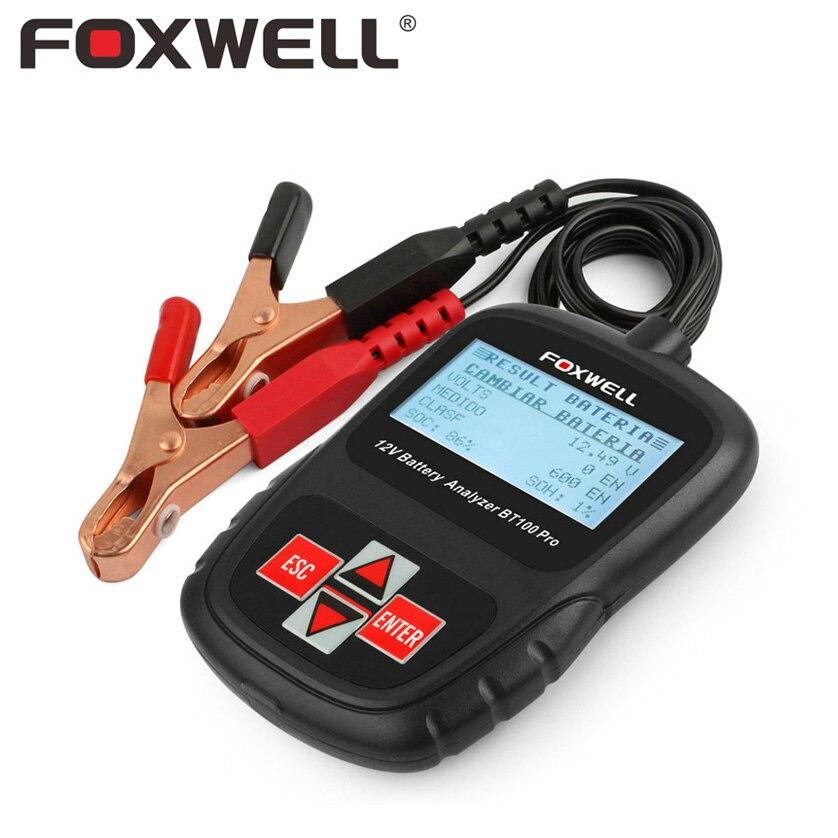 Foxwell BT100 Pro 6 V 12 V del coche de la batería probador de plomo ácido inundado agm gel 1100CCA 200AH prueba 6 V 12 volt Automotive analizador nuevo