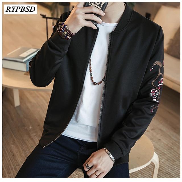 1be8b1189312 Chinese Style 2019 Spring Autumn Casual Bomber Jacket Men Vintage Crane  Embroidery Baseball Collar Pilot Coat Clothing 5XL