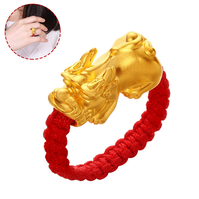 Lucky Red Rope Woven <font><b>Ring</b></font> Golden Brave Troops Amulet <font><b>Ring</b></font> <font><b>Buddhist</b></font> Jewelry @M23 image