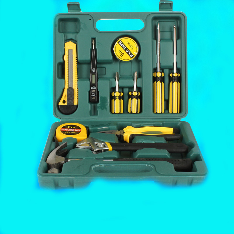 12 in 1 Combination Hardware Tool Set Hammer&Pliers&Screwdriver&Wrenches&Digital Electric Tester& Hand Tool Box for Household 10 in 1 rc helicopter screwdriver pliers hex repair tools kits box set combination hand tool set
