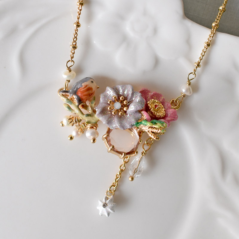 Warmhome Trendy Jewelry French Peony Flower Gems Pearl Bird Enamel Glaze For Women Necklace vintage bird wings necklace for women