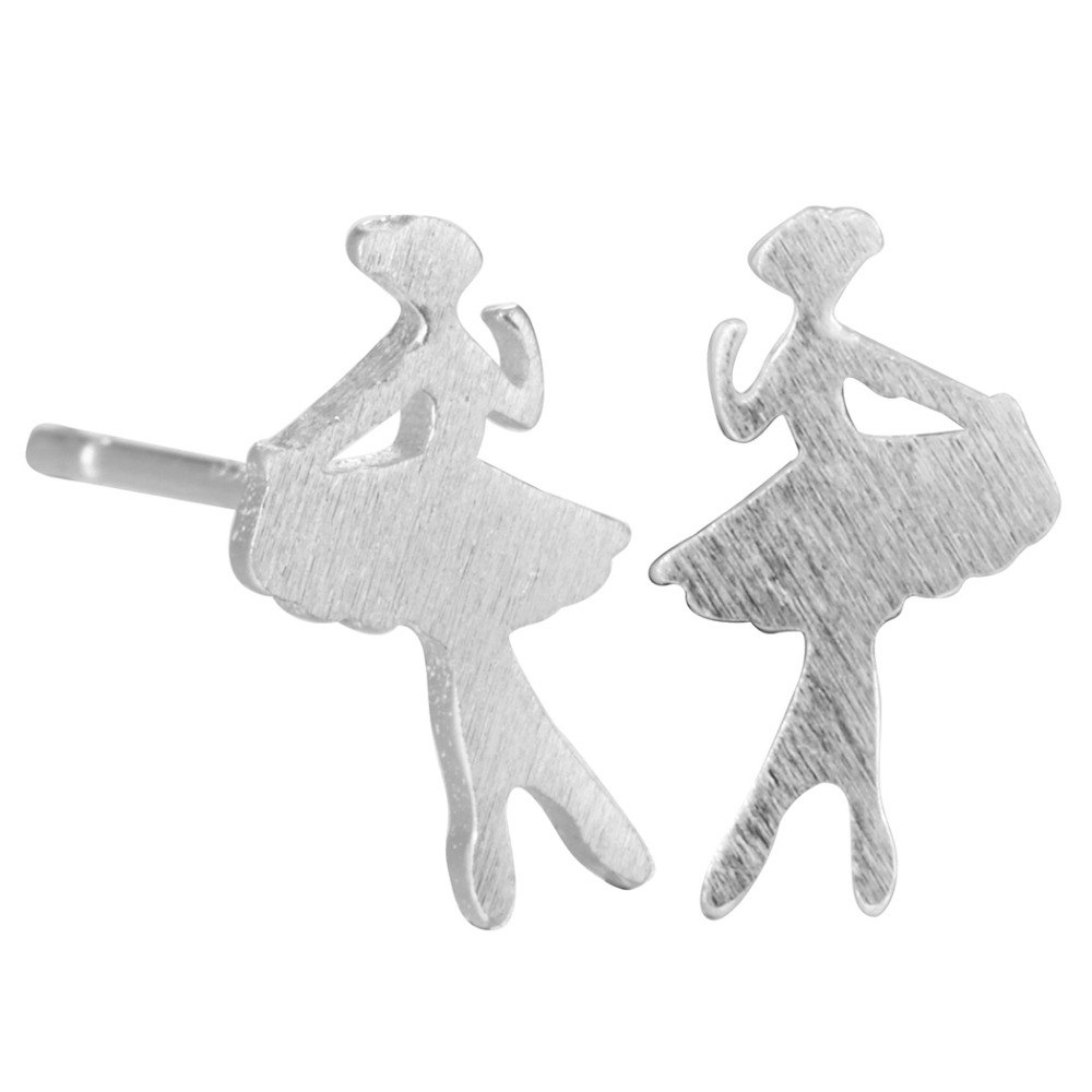 QIAMNI 925 Sterling Silver Elegant Ballet Girl Stud Earring Women Girls Birthday Christmas Gift Pendientes Jewelry Accessories
