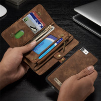 Luxury Brand For IPhone 8 8Plus Case Genuine Leather Flip Zipper Cover For IPhone 8 Plus