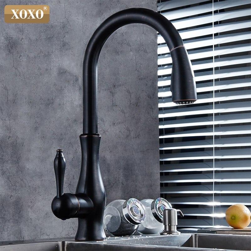 XOXO luxus küche wasserhahn kopf qualität kupfer pinsel nickel exporte zerstäubung pull out kitchen sink armaturen mischbatterie 83034 - 2