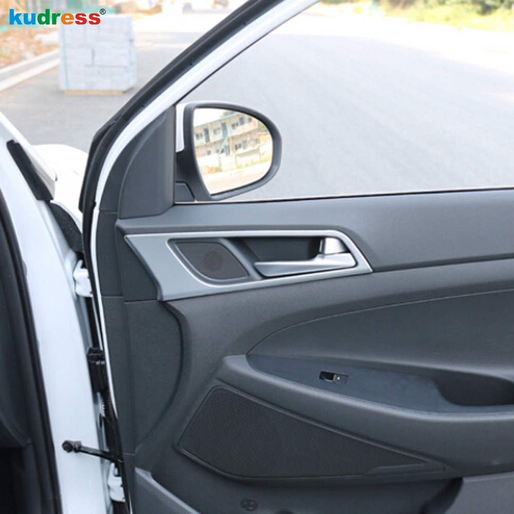 For Hyundai Tucson 2016 2018 Matte Interior Handle Bowl Panels Decorative Trim Inner Door Handle Decorations Parts Trim 4 pcs