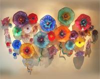 Lotus Flower Plates Style Handmade Murano Glass Wall Plates Art Decor Wall Hanging Plates