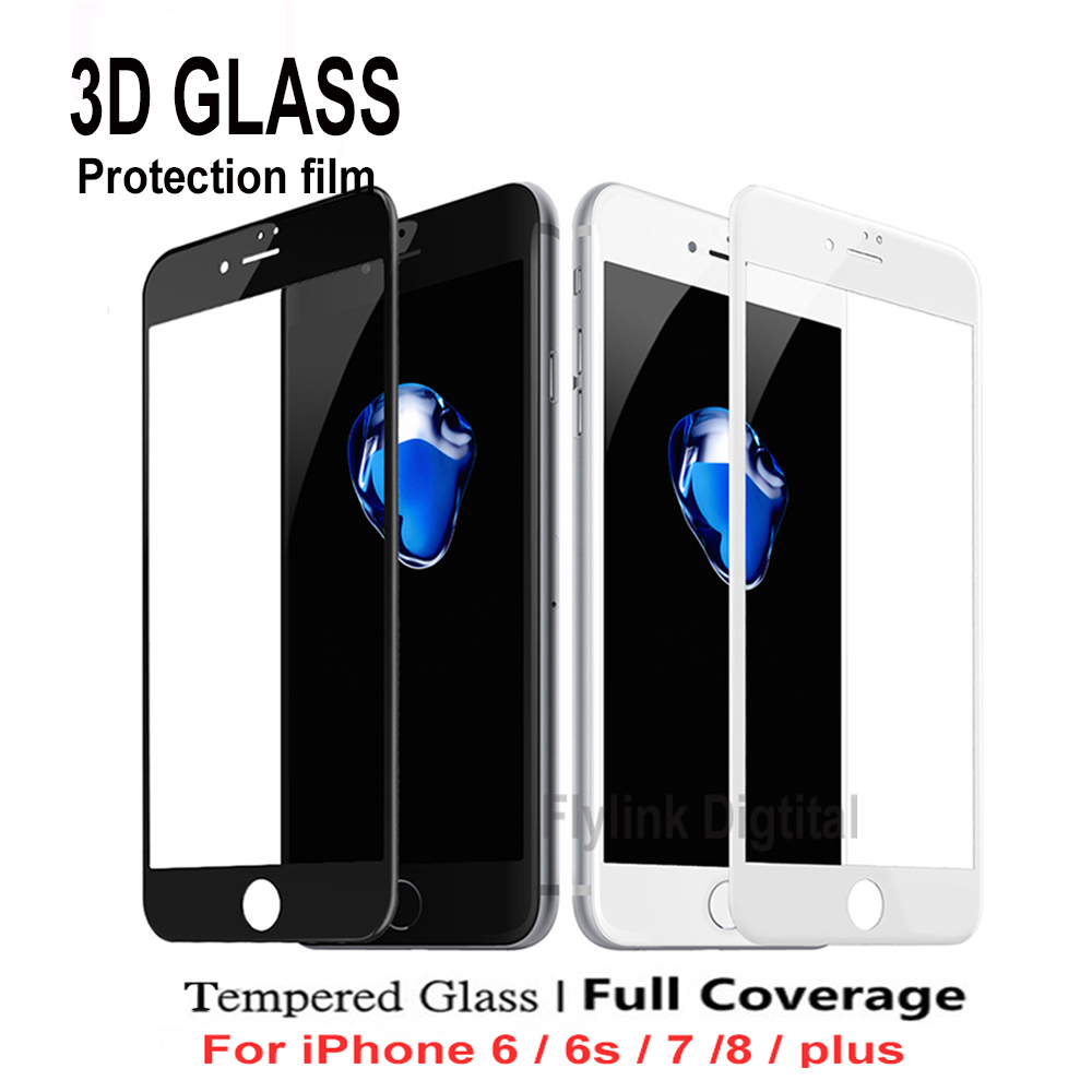 9H 3D Curved Edge Full Cover Screen Protector For IPhone 6S 7 Tempered Glass On The For IPhone 6 S 8 Plus Protective Film Glass