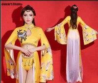 Ds مثير ارتداءها ds زي النمط الصيني تظهر أداء dj الإناث مدور الملابس راقصة بار المرحلة ازياء مطربين