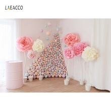 Laeacco Pink Balloons Backdrops Baby Birthday Party Flowers Curtain Portrait Room Interior Photographic Background Photo Studio