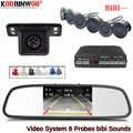 Koorinwoo Auto Parktonic capteur de stationnement de voiture hd 4.3 pouces moniteur de voiture écran voiture rétroviseur système de détecteur de caméra noir/blanc/gris
