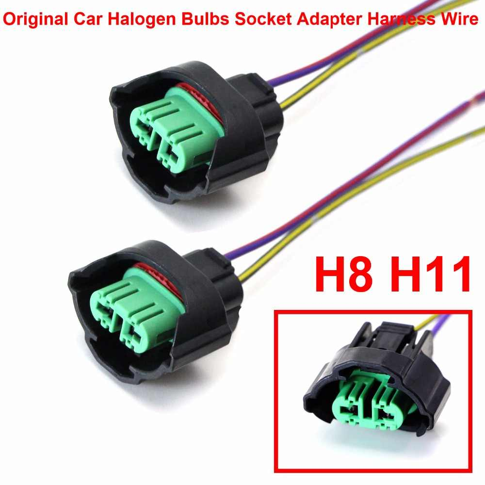 2PCS H8 H9 H11 Car Original Halogen Bulbs Lamps Female Adapter Wiring Harness Socket Connector Pigtails Wire Headlight Fog Light