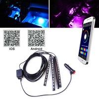 DWCX Car Interior Colorful 12 LED Footwell Floor Neon Flexible Atmosphere Light Strip Phone App Music