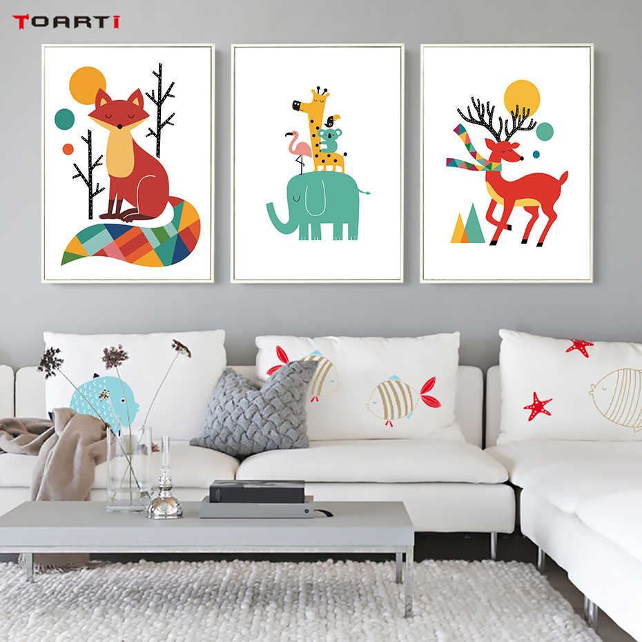 Cartoon Animal Bear Tiger Fox Canvas Art Painting Poster and Prints Nordic Style Wall Art Picture For Kids Room Baby Living Room