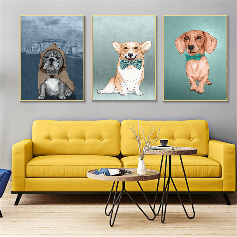 Abstract Oil Painting Modern Minimalist Dog Wall Pictures for Living ...