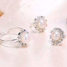 DMCSFP003 6-7mm Semi-round Pearl Jewelry Sets Pearl Earrings Pearl Ring For Women(China)