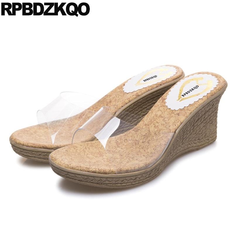 Espadrilles Cheap Women Slip On Pvc Shoes Summer Transparent 2018 Korean  Slides Rope Wedge Sandals High Heels Platform Pumps d234423a0