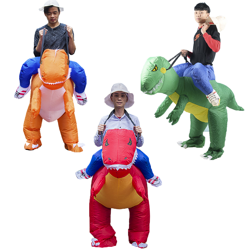 2019 Hot Selling Inflatable Dinosaur Costume T-Rex Family Game Adult Kids Size Halloween Cosplay Costume Animal Dino Rider