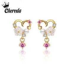 Chereda Gold Charm Heart Stud Earring White Flower Women Earrings Fashion Jewelry Oorbellen