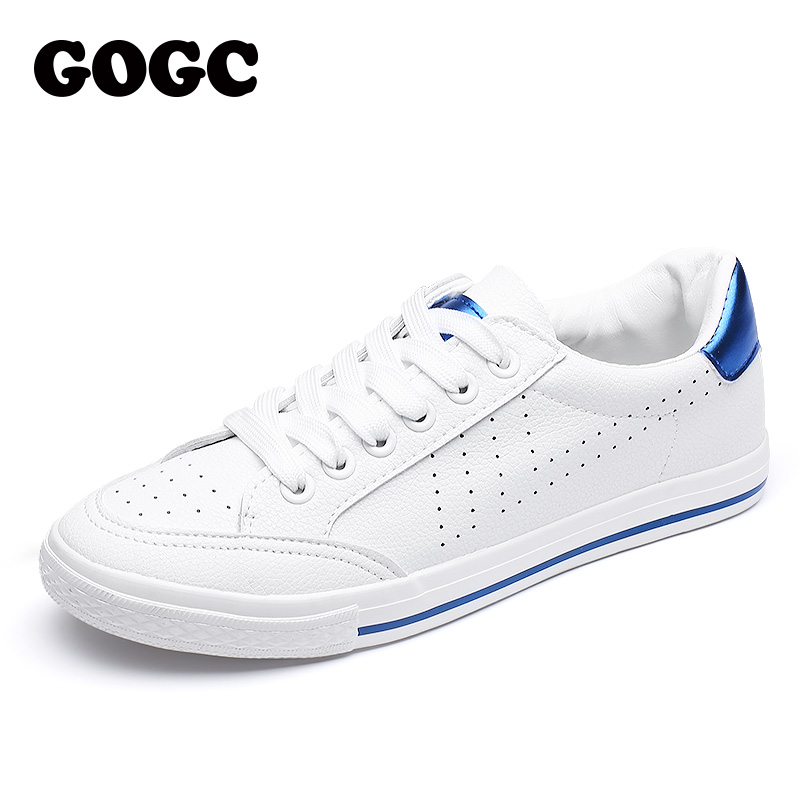GOGC Soft White Sneakers Women Breathable Moccasins Womens Hollow Out Shoes Lace up Women Summer Shoes Slipony Clean Sneakers popular white cattle hide zip womens sneakers