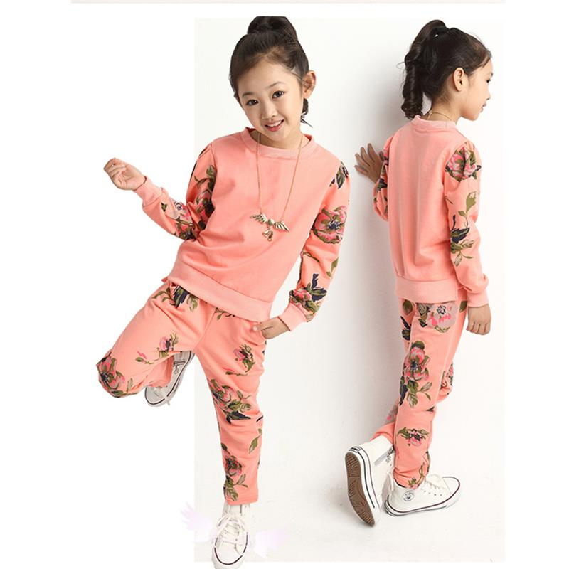 Cute 2017 Cotton Lengthy Sleeves Spring And Autumn Printing Hoodies+Pants 2Pc Women Garments Units Youngsters Clothes