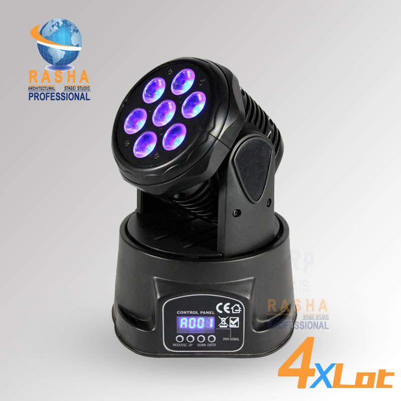 4X LOT Factory Price Freeshipping 7pcs*12W 4IN1 RGBW MINI LED Moving Head Wash Light,ED Moving Head For Event,Disco Party
