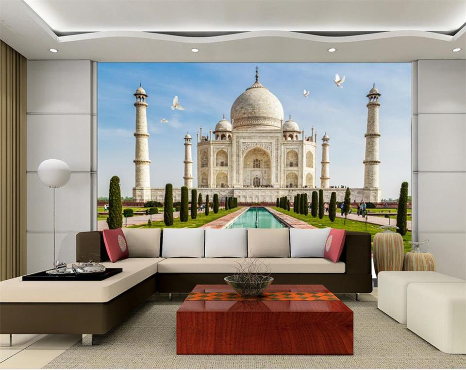 custom 3d photo wallpaper living room mural india taj mahalcustom 3d photo wallpaper living room mural india taj mahal landscape painting picture sofa tv background non woven wall sticker in wallpapers from home
