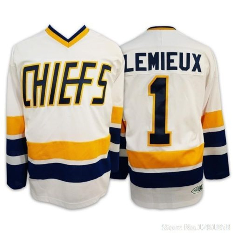 Slap Shot Movie #1 Denis Lemieux Charlestown Chiefs White Hockey Jersey Embroidery Stitched Customize any number and name(China (Mainland))