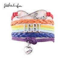Infinity Love LGBT bracelet wedding bracelet Awareness heart charm leather men bracelets & bangles for women jewelry