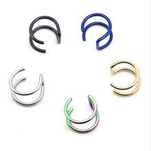 Stainless Steel Nose Rings Ear Studs Fake Septum Piercing Gold/Silver/Black Nose Hoop Fake Nose Rings&Studs Women Body Jewelry