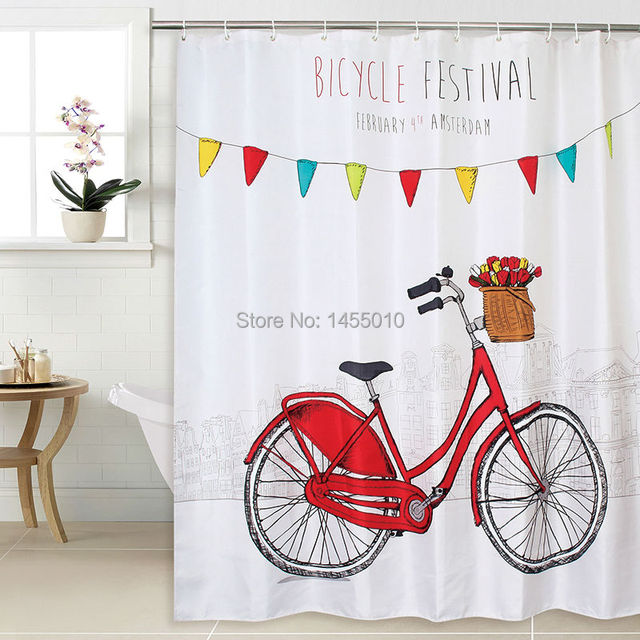 Happy Tree Polyester Bicycle Festival Waterproof Shower Curtain Thicken Fabric Bathroom Red Bike Bath