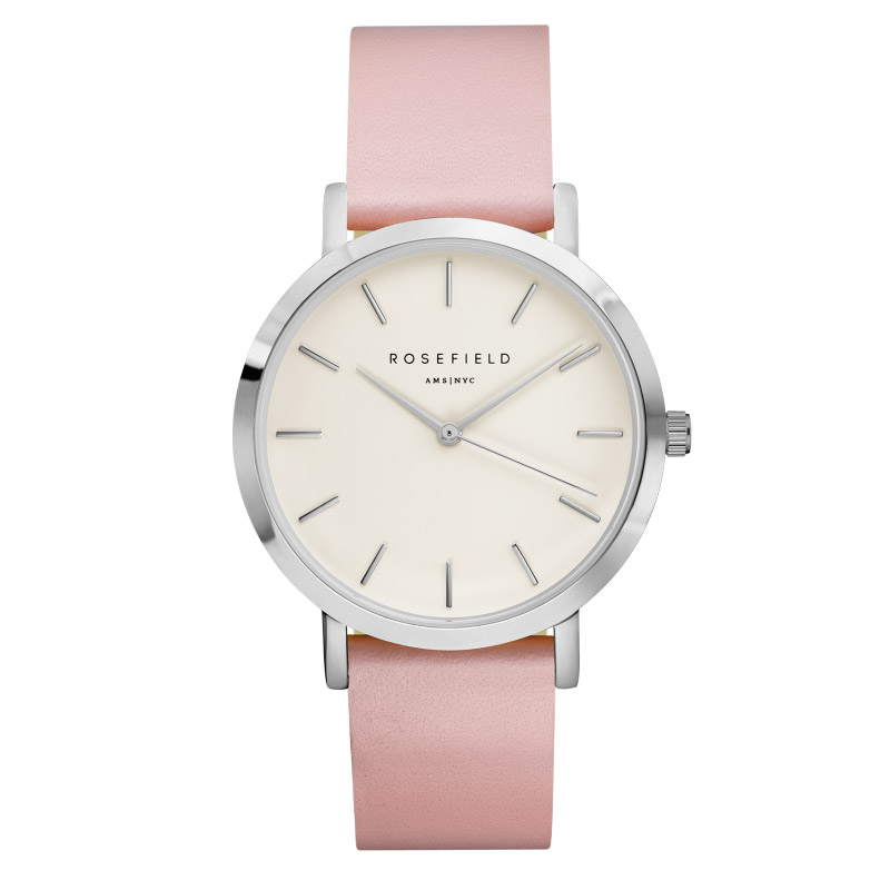Ladies Ultra-Thin Watch - silver - white leather strap
