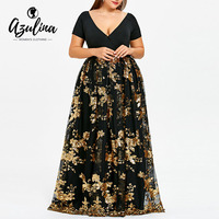 AZULINA Plus Size Dress Women Deep V Neck Short Sleeves Floral Sparkly Maxi Dresses Elegant Party