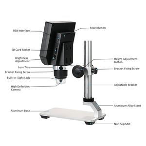 Image 3 - 600X デジタルビデオ顕微鏡 4.3 インチ液晶拡大鏡 microscopio 携帯電話メンテナンス QC/工業検査 + スタンド