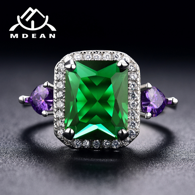 MDEAN White Gold Color Wedding Rings for Women Engagement green AAA Zircon Jewelry Femme Bijoux Bague Size 6 7 8 9 10 H689