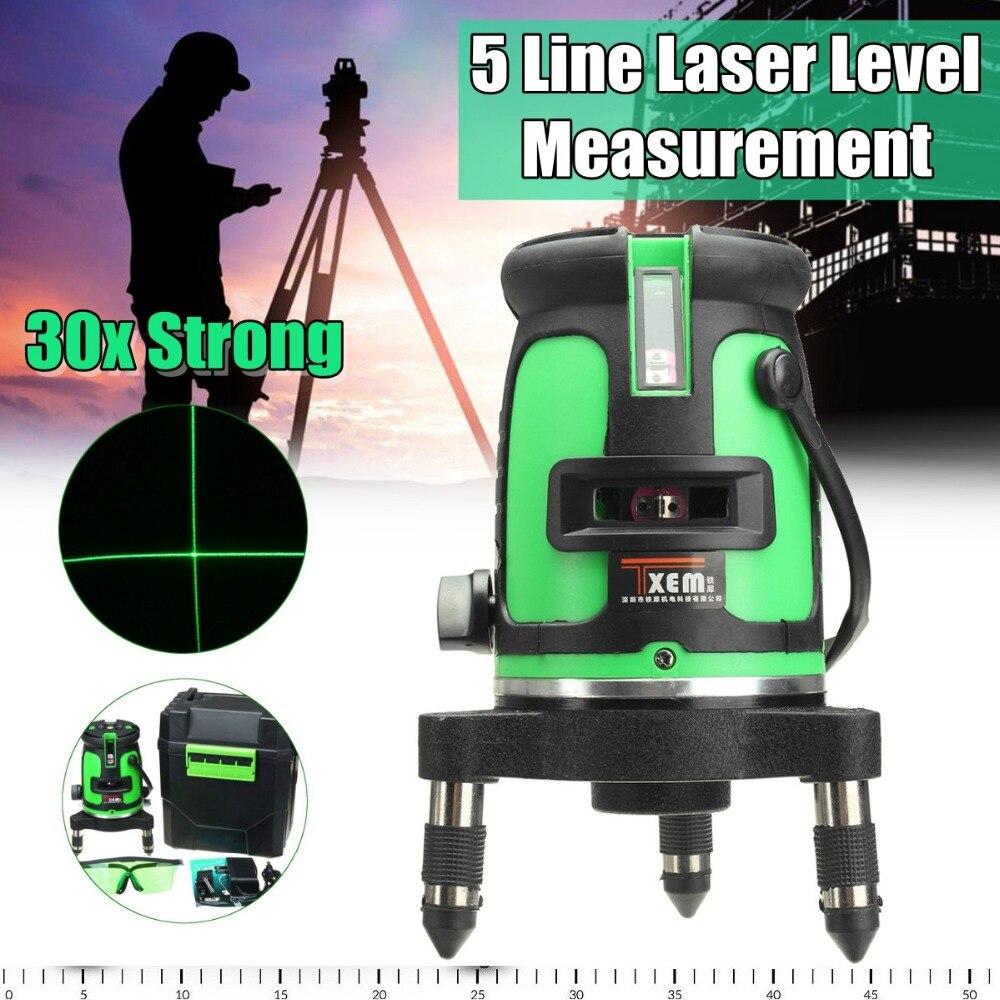 Зеленый луч лазерный уровень 5 линия крест 30 раз зеленый самовыравнивающая 360 градусов Поворотный Открытый измерения лазерный уровень инст...