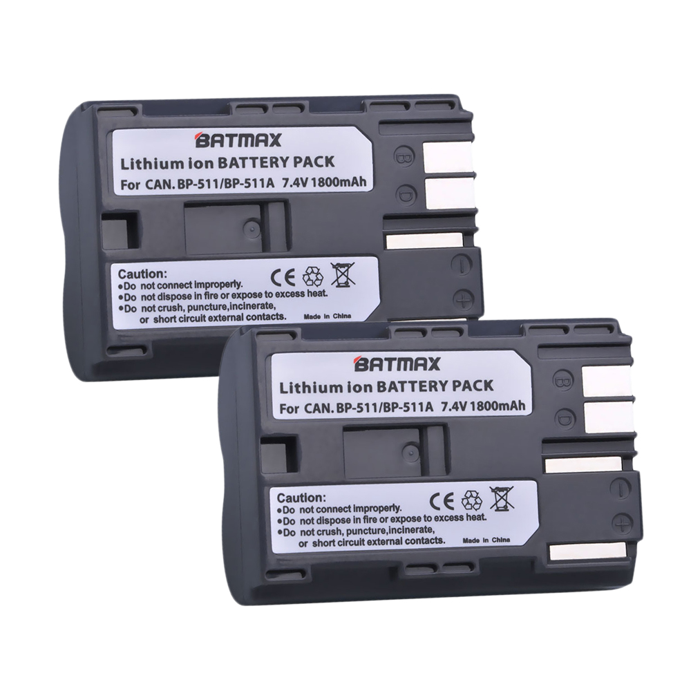 2Pcs 1800mAh BP-511 BP511 BP 511 BP-511A Battery For Canon G6 G5 G3 G2 G1 EOS 300D 50D 40D 30D 20D 5D MV300i Digital Camera